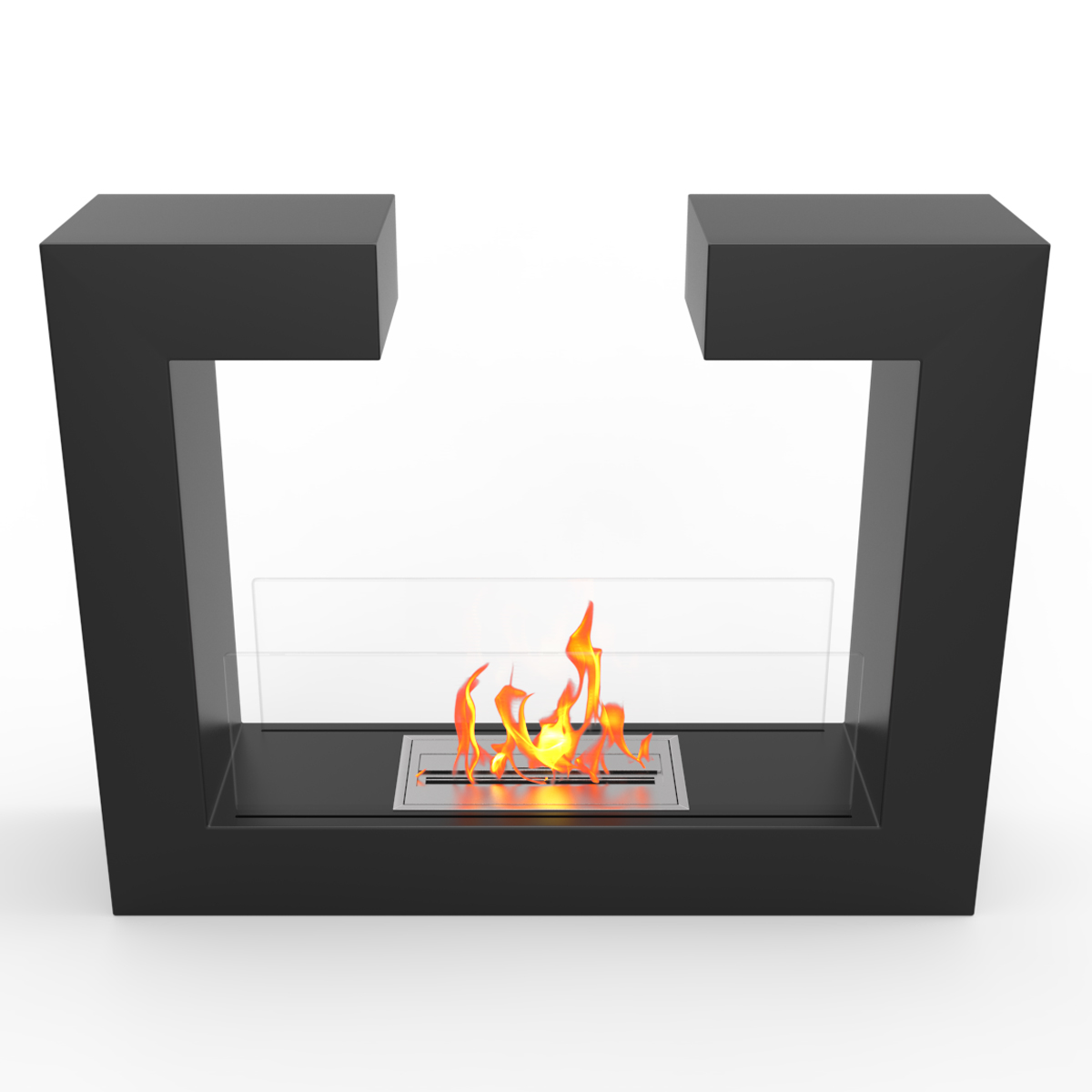 regal flame vinci ventless free standing ethanol fireplace in black