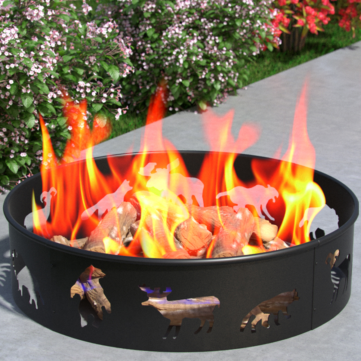 Regal Flame Bear Moose Fox 28 Inch Backyard Garden Home Running Horse Light Wood Fire Pit Fire Ring For Rv Camping And Outdoor Fireplace Works As