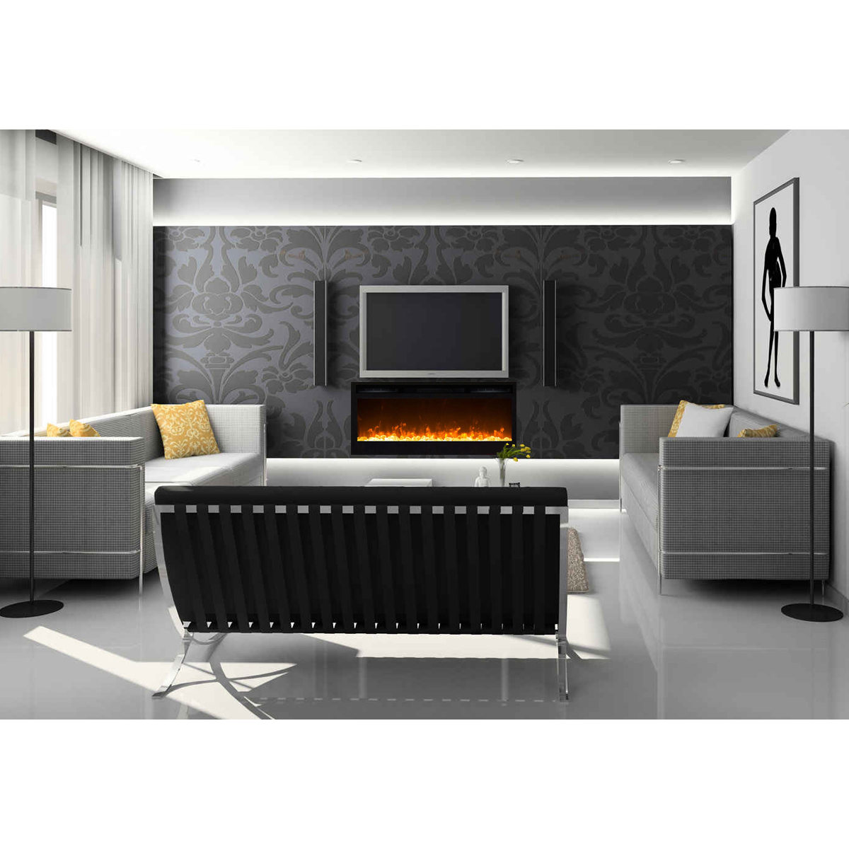 decor black and wall using small design for in leather lighting rugs ideas with sofa decoration decorating simple also above furniture recessed tv fireplace floor