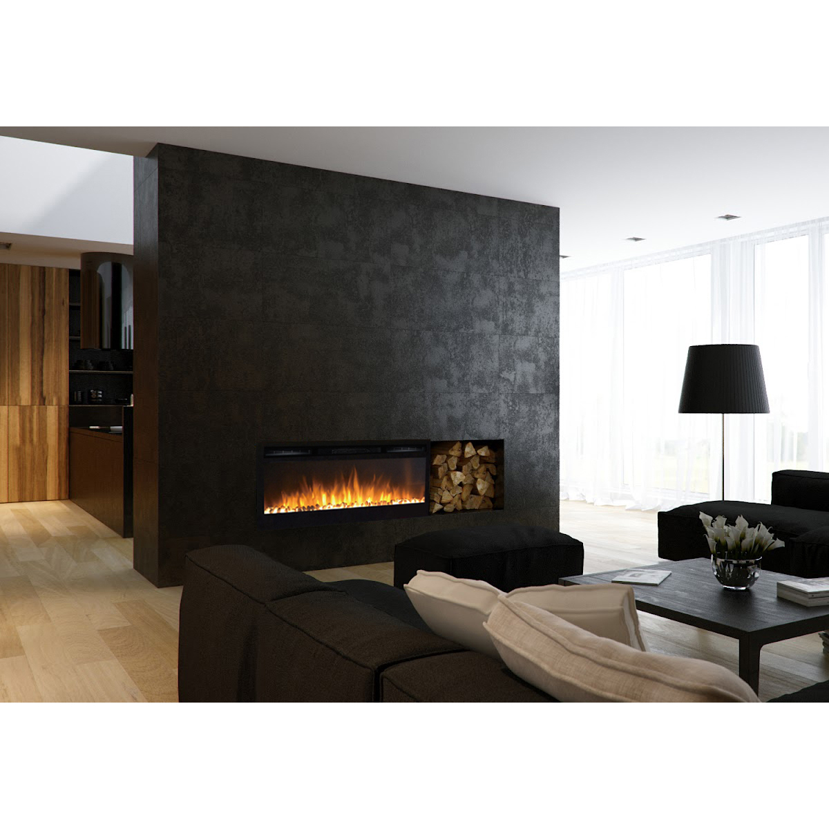 Regal Flame Lexington 35 Inch Built-in Ventless Heater Recessed Wall Mounted Electric Fireplace - Pebble-Regal Flame Lexington 35 Inch Built-in Ventless Heater Recessed Wall Mounted Electric Fireplace - Pebble If you want to add a dynamic and vivacio