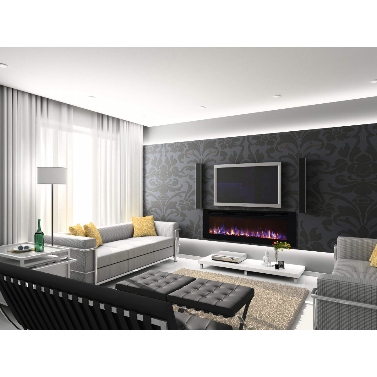 regal flame fusion 50 inch built in ventless heater recessed wall