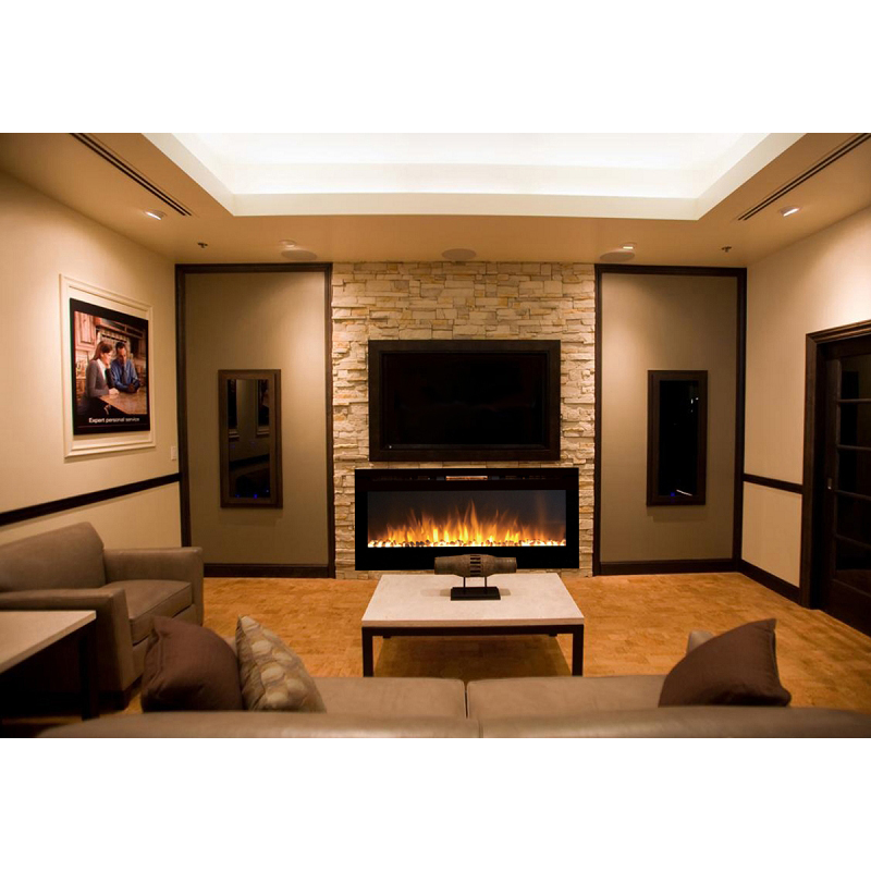 Regal Flame Fusion 50 Inch Built In Ventless Heater Recessed Wall Mounted Electric Fireplace Pebble
