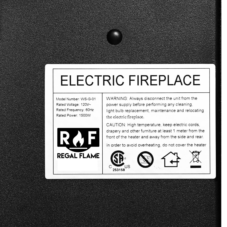 regal flame ashford 50 inch black ventless heater electric wall