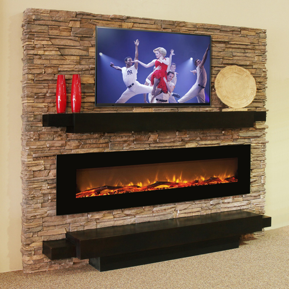 Regal Flame Erie 72 Inch Black Ventless Heater Electric Wall Mounted Fireplace - Log-Regal Flame Erie 72 Inch Black Ventless Heater Electric Wall Mounted Fireplace - Log The Erie