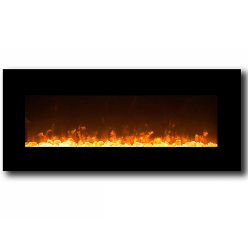 Regal flame orion 50 inch black ventless heater electric wall mounted fireplace crystal - Fireplace wall ...