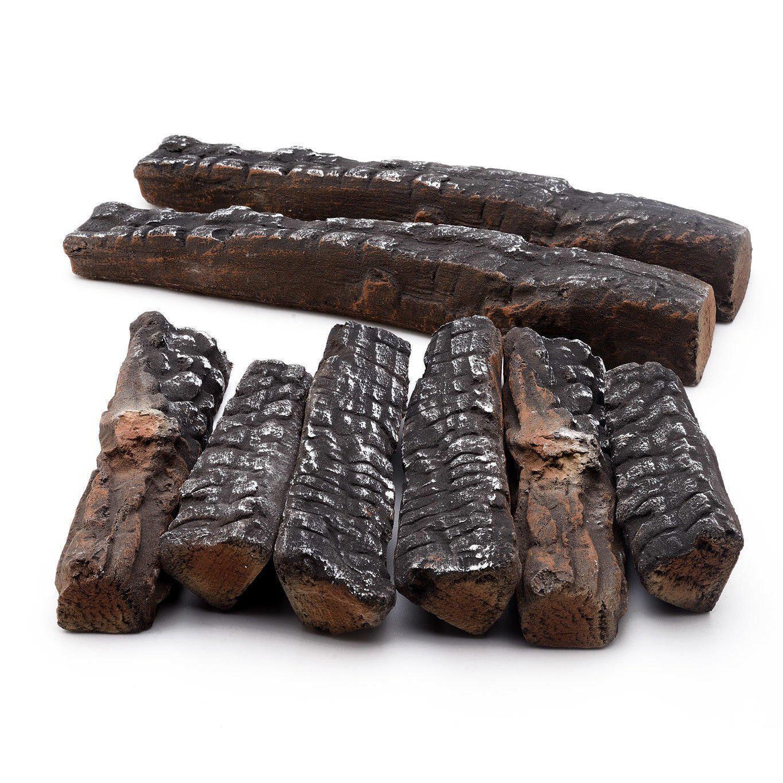 set of 8 ceramic fiber propane gel ethanol or gas fireplace logs