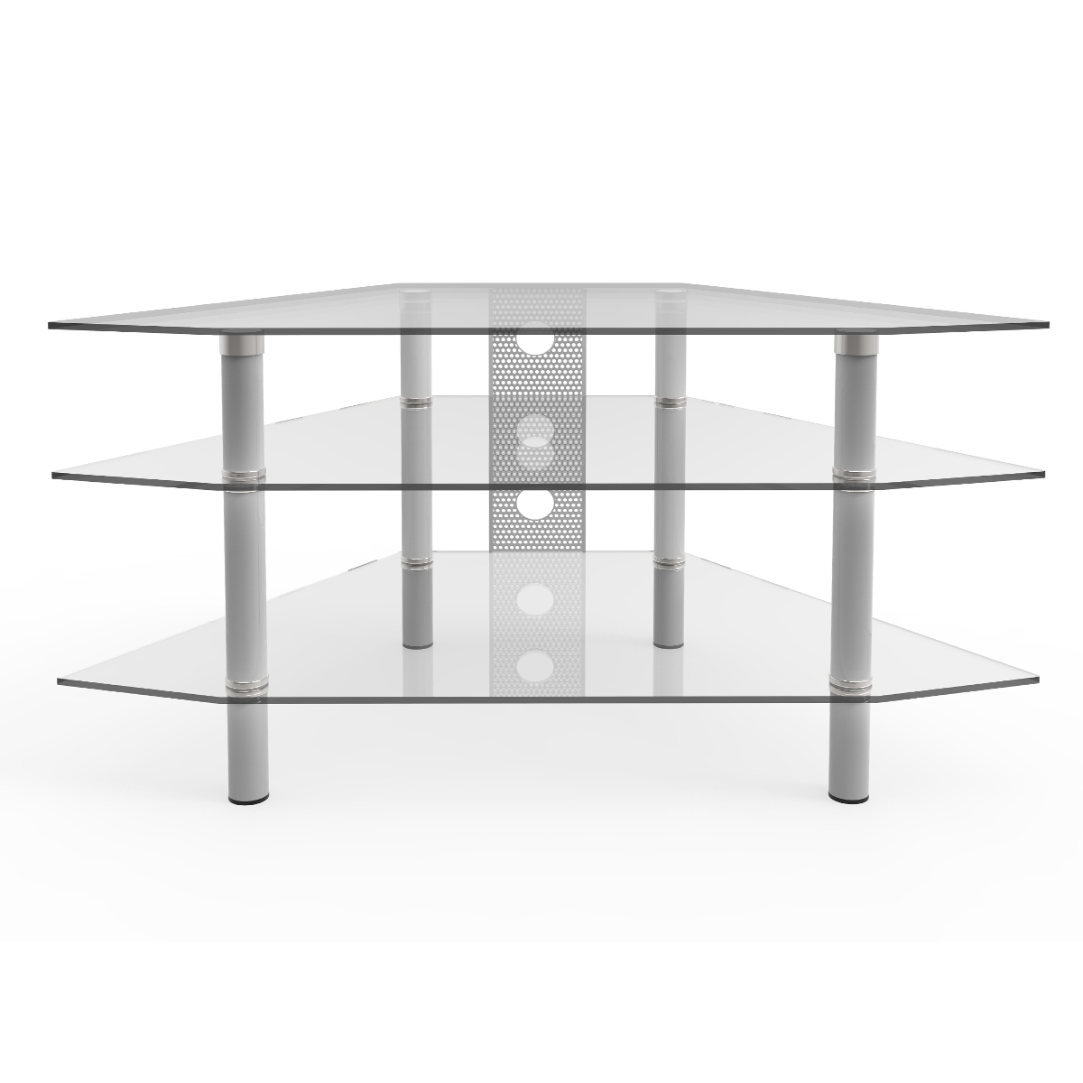 Ruby 44 Inch Corner Glass Tv Stand Silver And Clear Glass With Cable