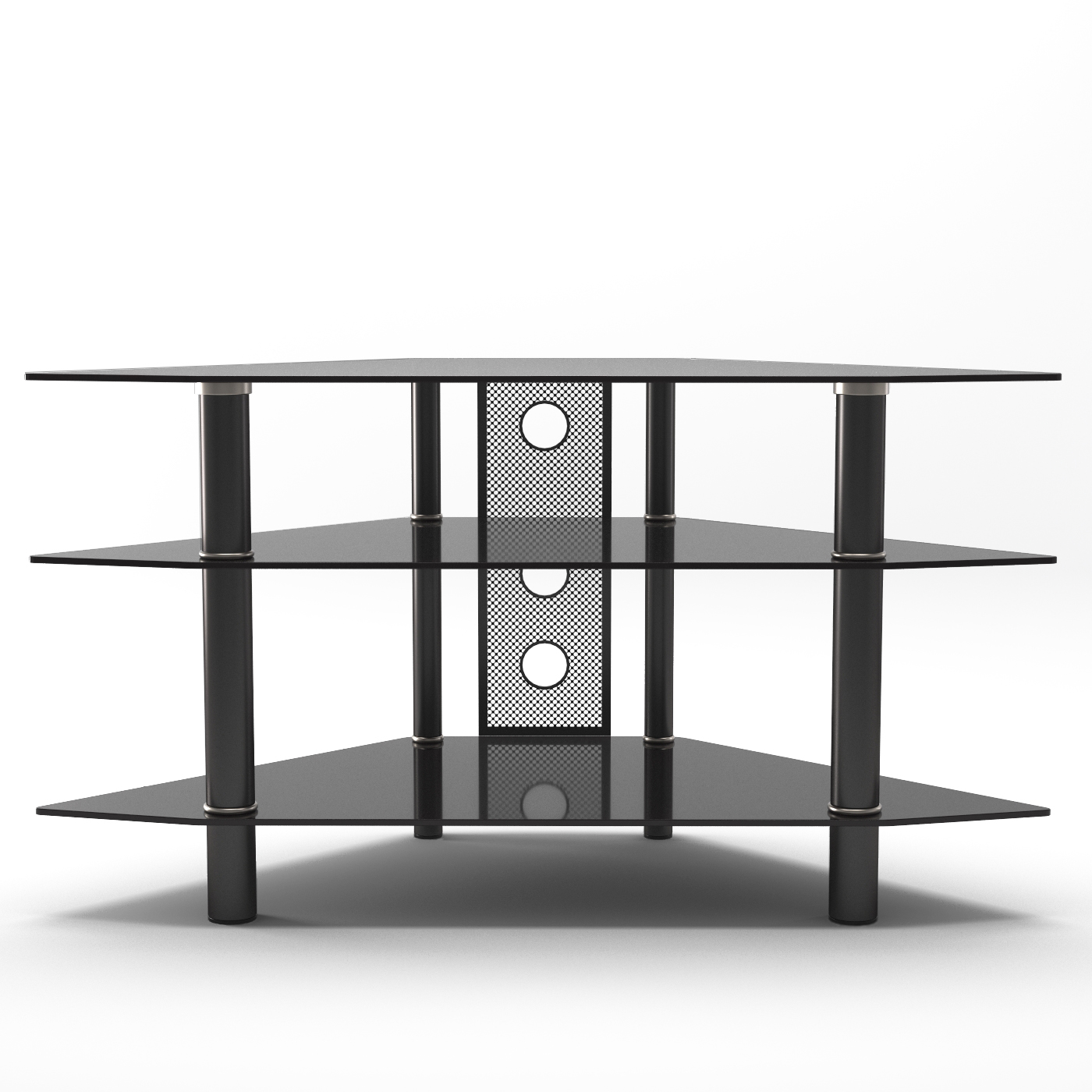 Ruby 44 Inch Corner Glass Tv Stand In Black With Cable Management