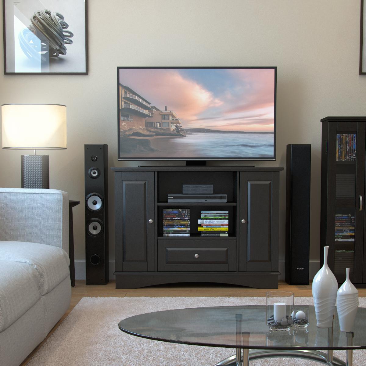 . Ryan Rove Kaydon 42 in  Bedroom TV Console with Media Storage in Black