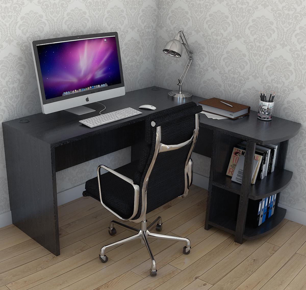 Ryan Rove Kristen Corner L-Shaped Computer Desk In Black