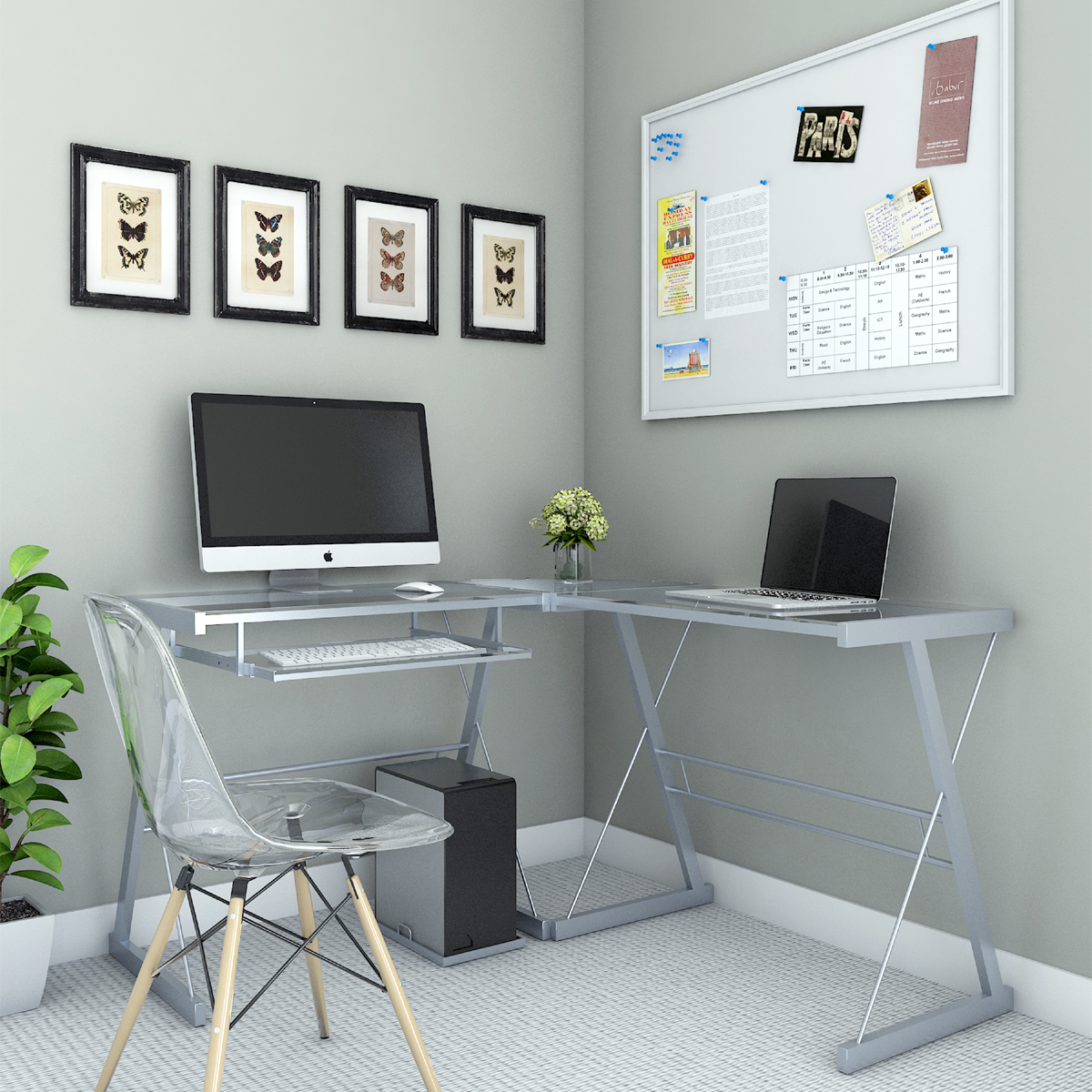 Ryan Rove Madison 3 Piece Corner L Shaped Computer Desk In Silver