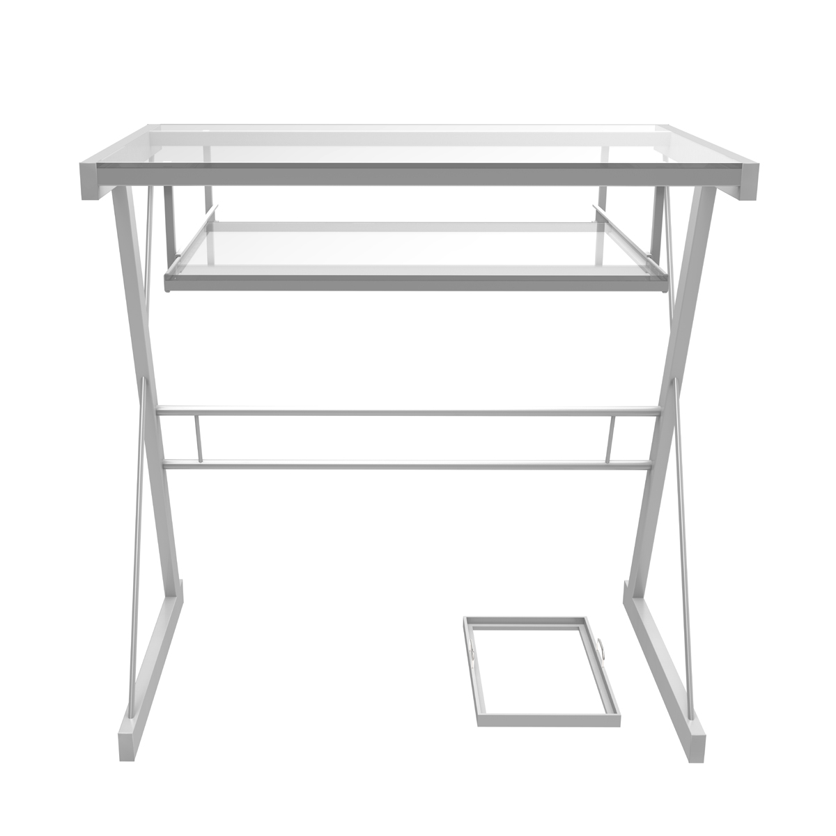 new concept ef211 9cc53 Ryan Rove Becker Metal and Glass Computer Desk in Silver