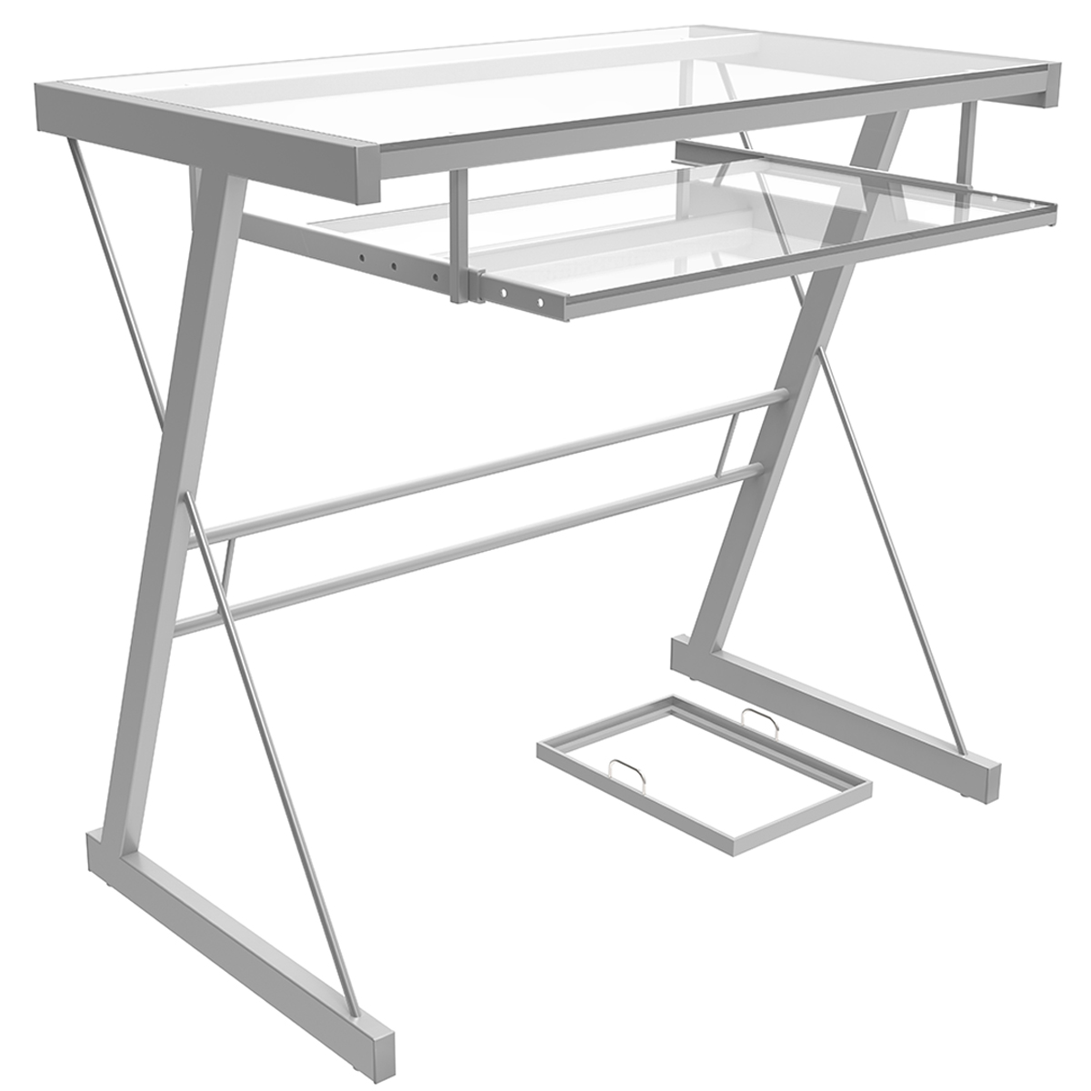 - Ryan Rove Becker Metal And Glass Computer Desk In Silver