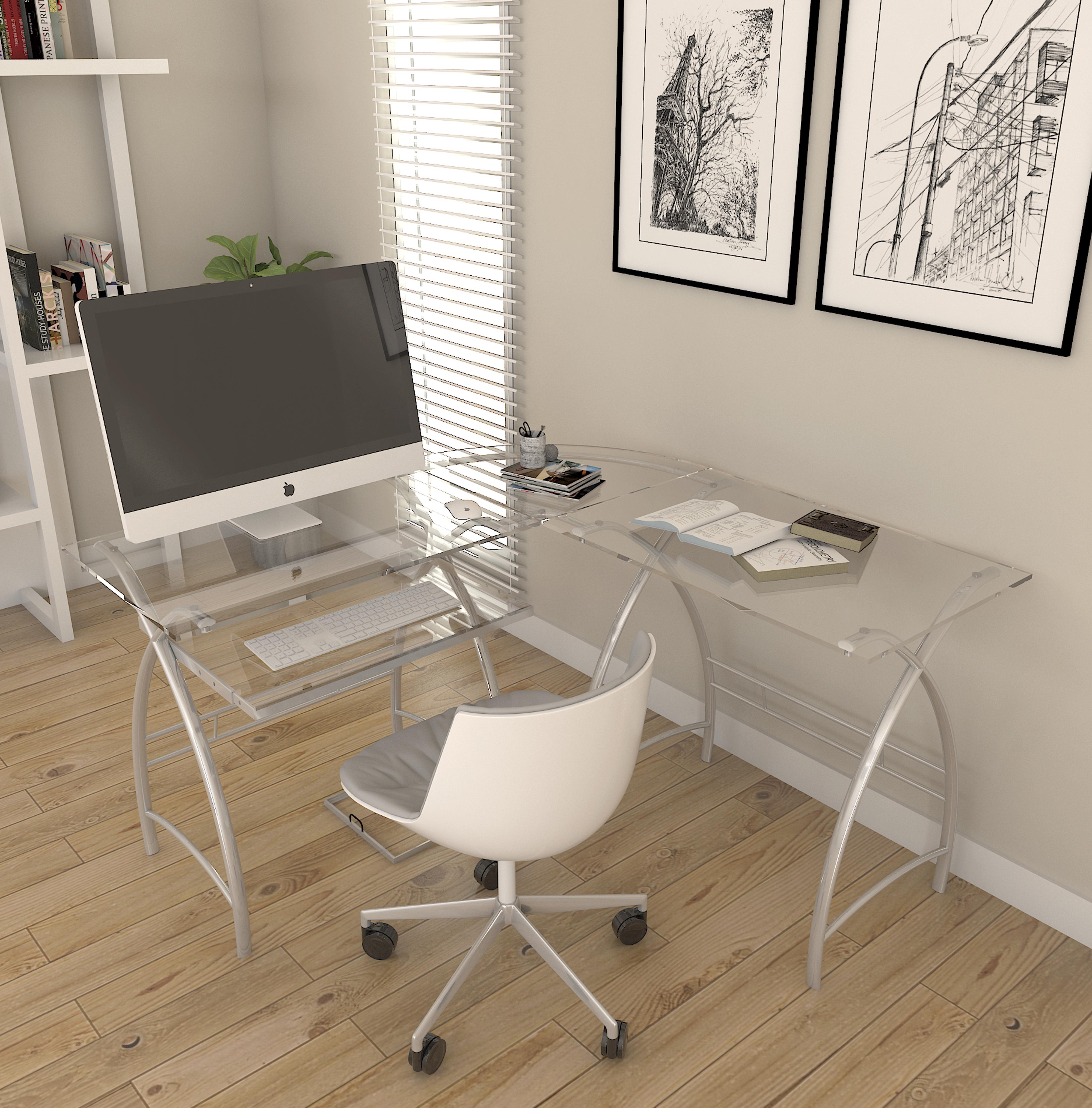 Ryan Rove Stillman 3-Piece Corner L-Shaped Computer Desk in Silver