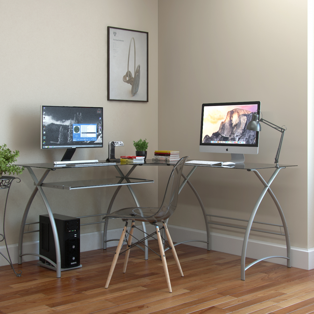 L Shaped Glass Gaming Desk Classic Office Desk With