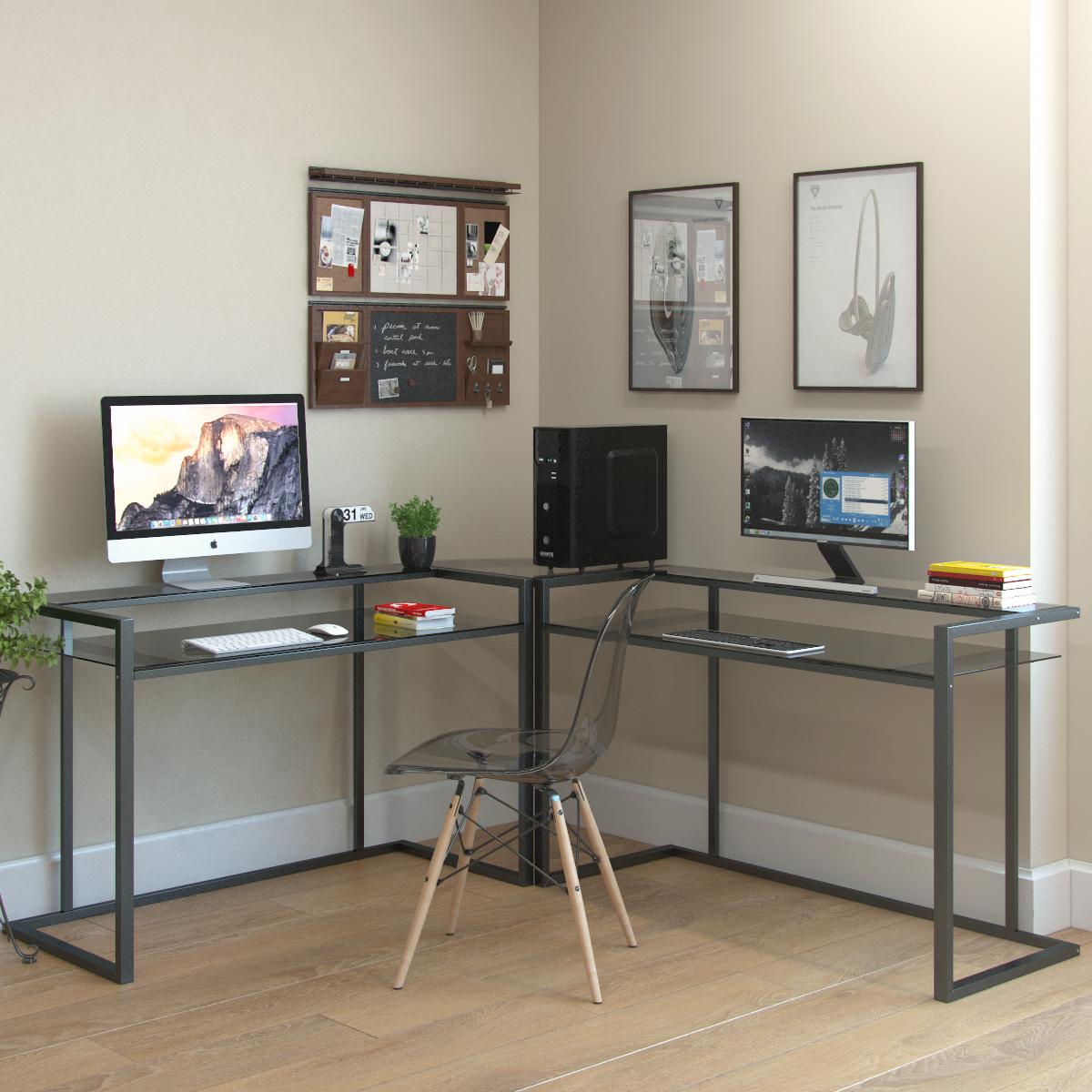 Ryan Rove Belmac 3 Piece Corner C Frame L Shaped Computer Desk