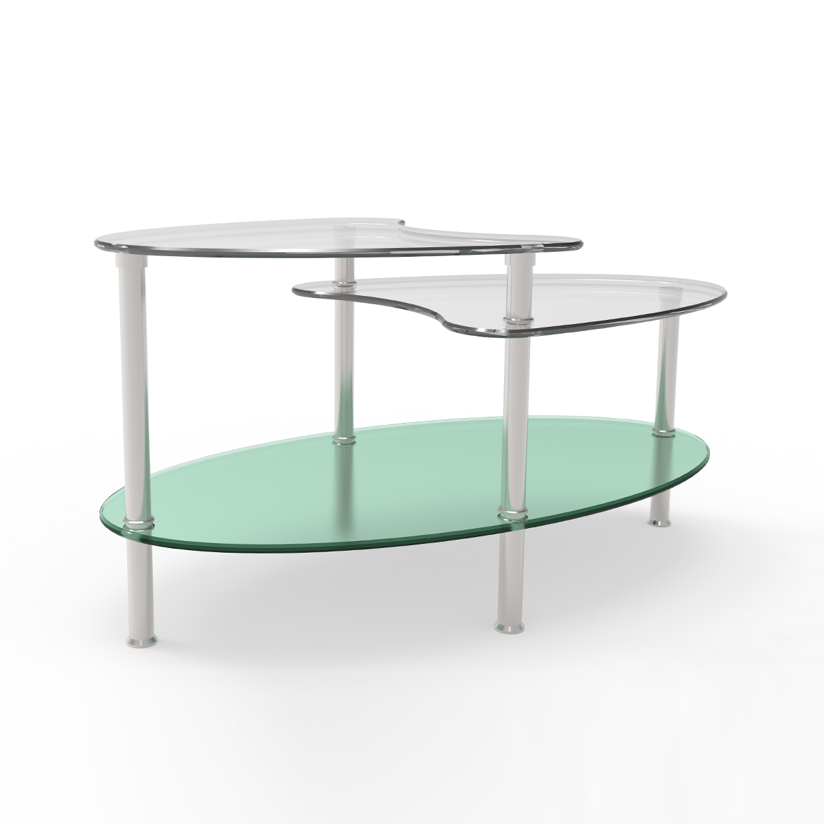 Ryan rove becca 38 inch oval two tier glass coffee table for Oval glass coffee table