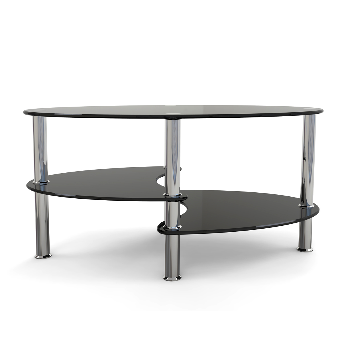Ryan Rove Elm 38 Inch Oval Two Tier Black Glass Coffee Table