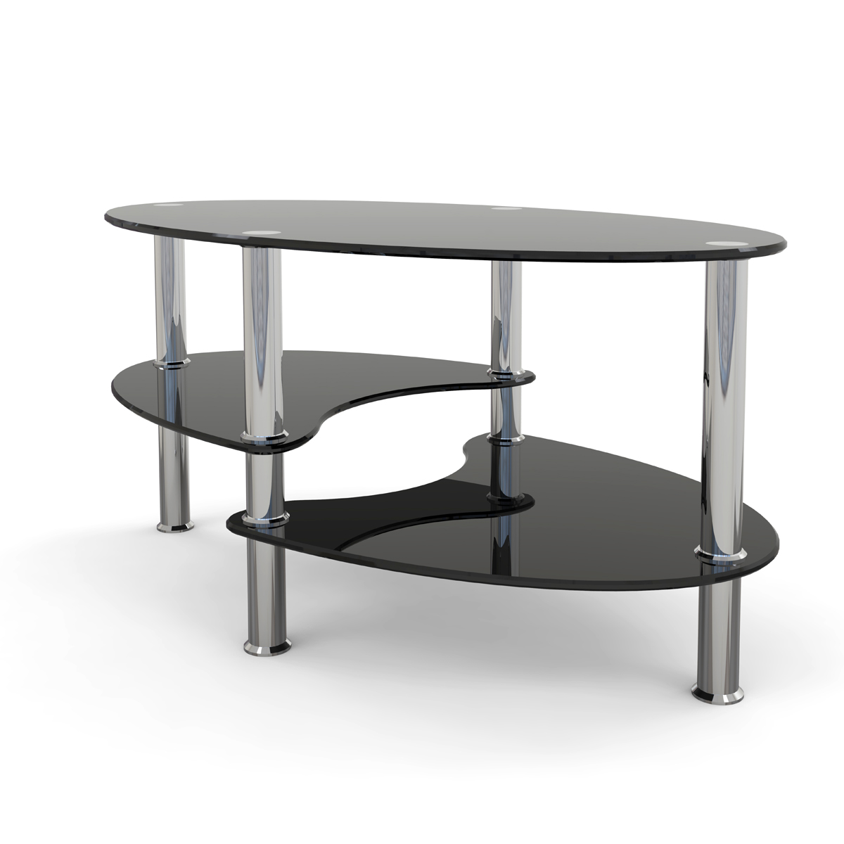 Glass Coffee Tables Gumtree: Ryan Rove Elm 38 Inch Oval Two Tier Black Glass Coffee Table