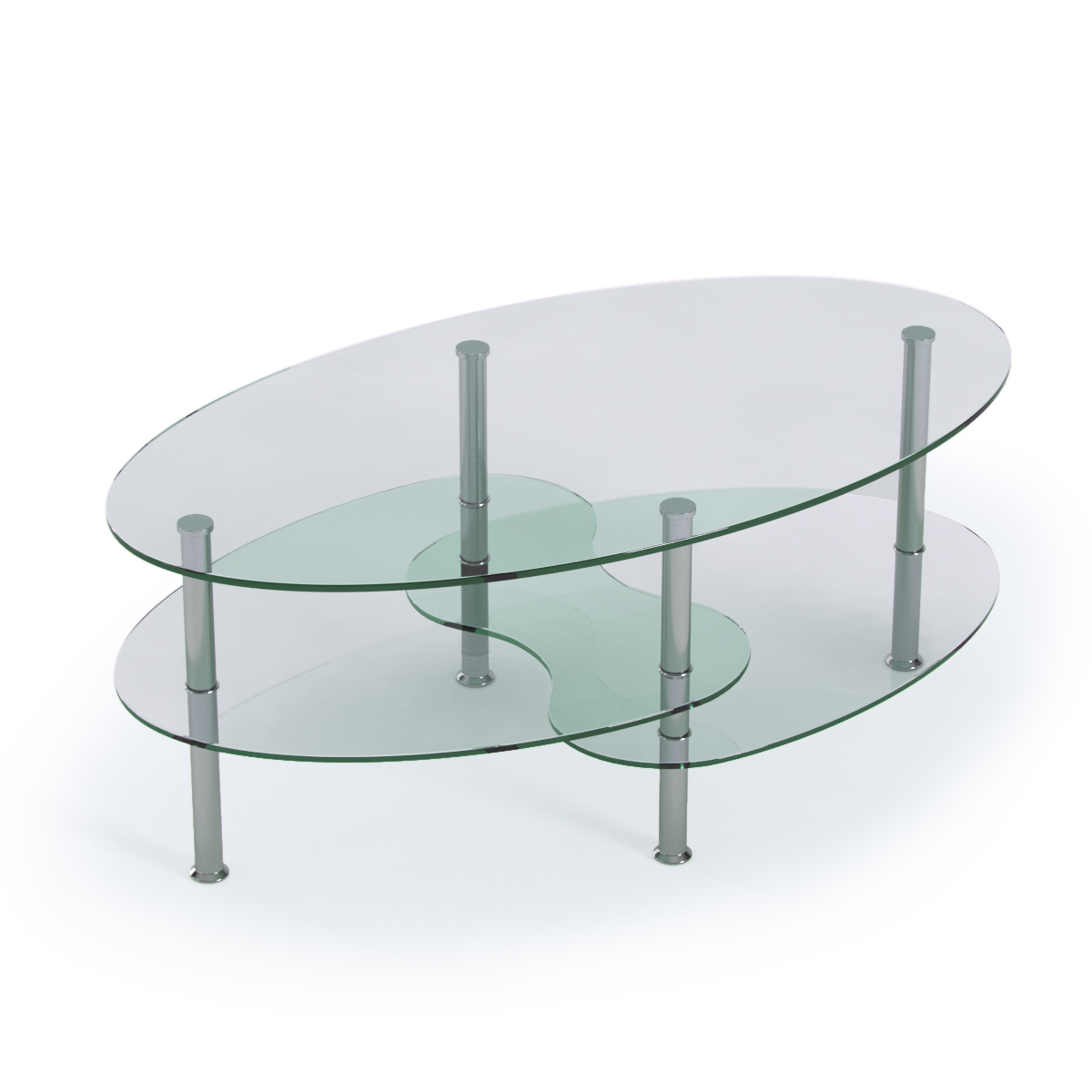 Ashley Glass Coffee Table.Ashley 38 Inch Oval Two Tier Clear Glass Coffee Table