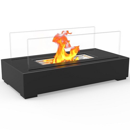 Regal Flame Utopia Ventless Tabletop Portable Bio Ethanol Fireplace in Black