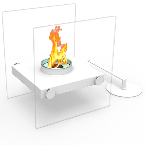 Regal Flame Luminox Ventless Tabletop Portable Bio Ethanol Fireplace in White