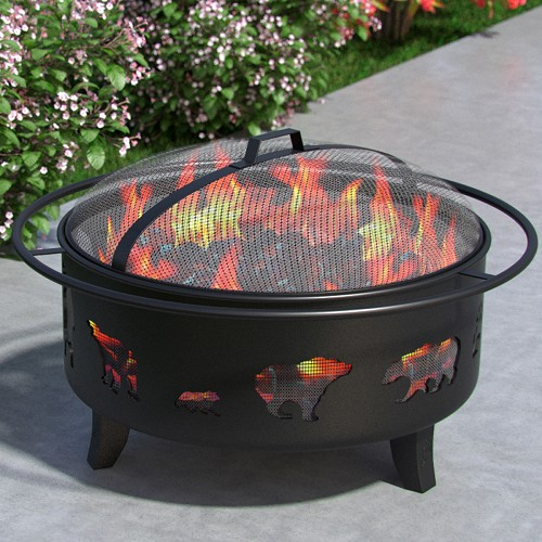 Wild Bear Distressed Outdoor Backyard Garden Home Light Fire Pit with Poker