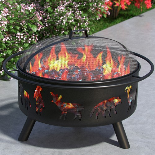 Wild Life 23 Inch Outdoor Backyard Garden Home Light Fire Pit with Poker