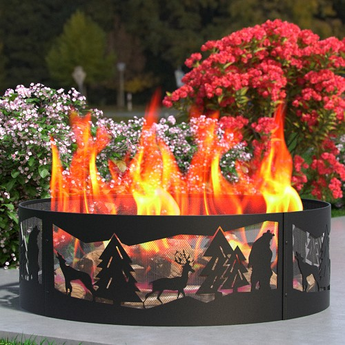 Regal Flame Wilderness 36 Inch Backyard Garden Home Running Horse Light Wood Fire Pit Fire Ring. For RV, Camping, and Outdoor Fireplace. Works as Firewood Patio Heater, Stove or Firebowl without Propane Gas