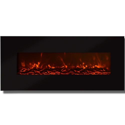 Regal Flame Valencia 50 Inch Black Ventless Heater Electric Wall Mounted Fireplace - Log