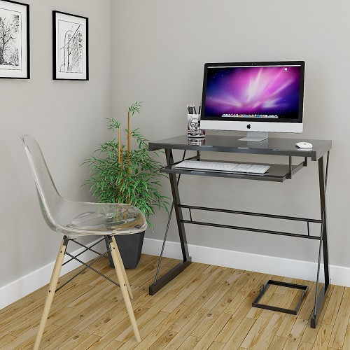 Ryan Rove Becker Metal And Glass Computer Desk In Black