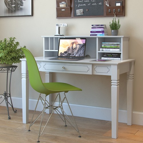 Ryan Rove Region Wood Writers Desk with Hutch in White