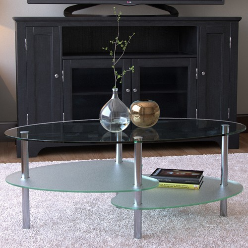 Ryan Rove Fenton 38 Inch Oval Two Tier Glass Coffee Table