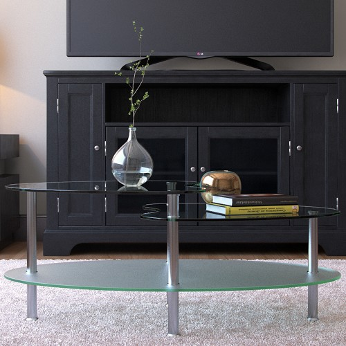 Ryan Rove Becca 38 Inch Oval Two Tier Glass Coffee Table