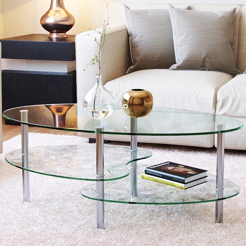 Ashley Inch Oval Two Tier Clear Glass Coffee Table - Ashley furniture oval coffee table