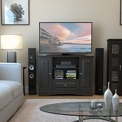 Ryan Rove Kaydon 42 in. Bedroom TV Console with Media Storage in Black