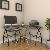 Ryan Rove Stillman 3-Piece Corner L-Shaped Computer Desk in Black