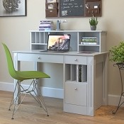 Ryan Rove Emily Wood Desk and Hutch in White