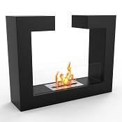 Regal Flame Vinci Ventless Free Standing Ethanol Fireplace in Black