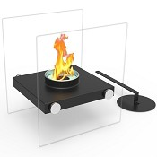 Regal Flame Luminox Ventless Tabletop Portable Bio Ethanol Fireplace in Black