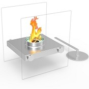 Regal Flame Luminox Ventless Tabletop Portable Bio Ethanol Fireplace in Stainless Steel