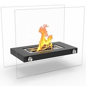 Regal Flame Monrow Ventless Tabletop Portable Bio Ethanol Fireplace in Black