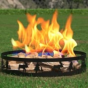 Regal Flame Boston Backyard Garden Home Deer and Trees Light Wood Fire Pit Fire Ring. For RV, Camping, and Outdoor Fireplace. Works as Firewood Patio Heater, Stove or Firebowl without Propane Gas