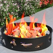Regal Flame Bear Moose Fox 28 Inch Backyard Garden Home Running Horse Light Wood Fire Pit Fire Ring. For RV, Camping, and Outdoor Fireplace. Works as Firewood Patio Heater, Stove or Firebowl without Propane Gas