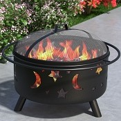 Stars and Moon 29 Inch Outdoor Backyard Garden Home Light Fire Pit with Poker