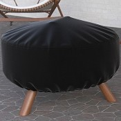 Dura Covers 32 Inch Black Heavy Duty Round Fire Pit Cover - Durable and Water Resistant Firepit Cover
