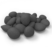 Set of 24 Light Weight Ceramic Fiber Gas Ethanol Electric fireplace Pebbles in Black