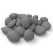 Set of 24 Light Weight Ceramic Fiber Gas Ethanol Electric fireplace Pebbles in Gray