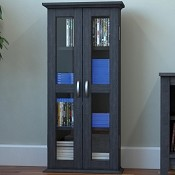 "Ryan Rove Kirkwell 41"" Wood Bookcase Multimedia Organizer Shelf DVD Media Storage Tower with Doors in Charcoal"