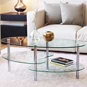 Ashley 38 Inch Oval Two Tier Clear Glass Coffee Table